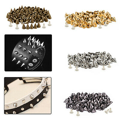 50 x 8mm Brass Studs Cone Punk Spikes Spots Rivet with Pins Leathercraft Bag DIY