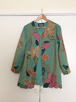 Indigo Moon Green/ Gold  Evening  Jacket Size Small