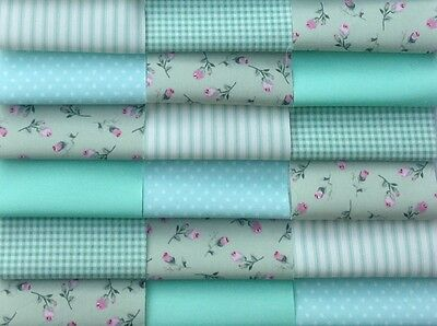 "Fabric patchwork squares 30 X 4"" 10cm cotton quilting craft floral mint green 8Q"