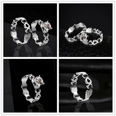 Wholesale 20Set=40X Heart Cubic Zirconia Stainless Steel Silver Rings Gift FREE