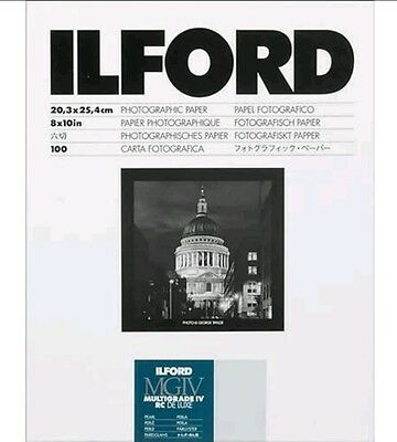 Ilford Multigrade Iv Rc De Luxe Pearl Photographic Paper! 100 Sheets! 8X10 In!