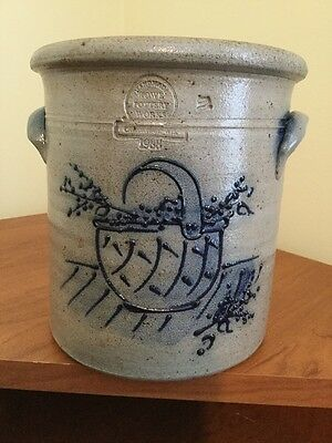 1988 Rowe Pottery With Blue Berry Basket