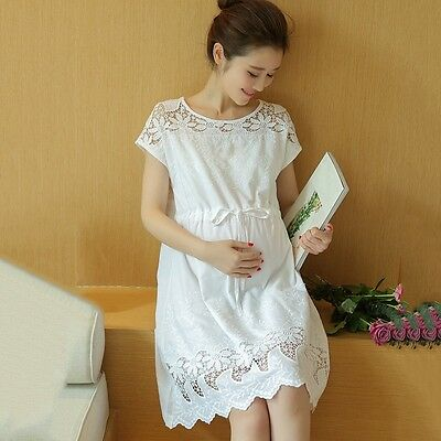 Newly Maternity Dress Pregnant Women Hollow Clothes Summer Loose White Dress