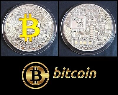 1 Pièce plaquée OR et ARGENT ( GOLD and SILVER Plated Coin ) - Bitcoin BTC