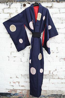 Vintage Navy blue Floral 70s Japanese kimono long Jacket or dress S M L