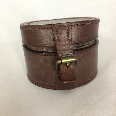 "Vintage Abercrombie & Fitch Leather Round Box w/ Buckle Made in England 3.5"" Rd"