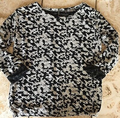 ** Ladies Black & White  3/4 Sleeve Top From Next Size 8-10 **