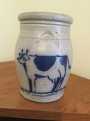1988 Rowe Pottery Jug With Blue Cow