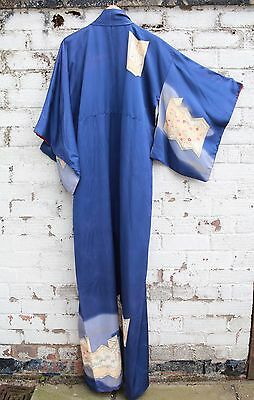 Vintage blue Floral 70s Japanese  silk mix kimono long Jacket or dress S M L
