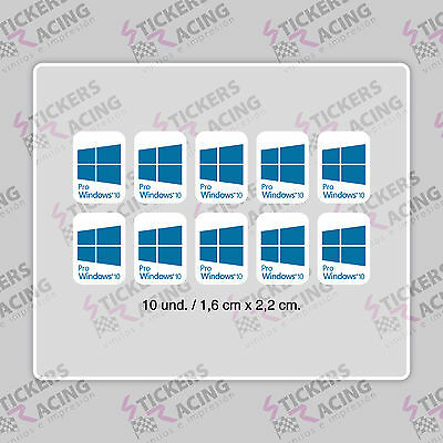 10 x WINDOWS 10 PRO FOR PC LAPTOP BLU CIANO STICKER LOGO DECAL BADGE ADESIVO