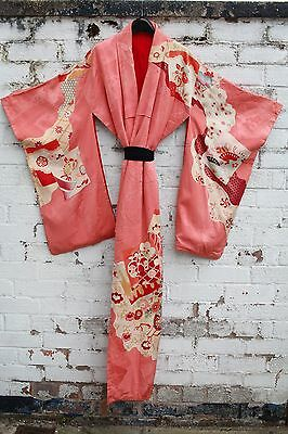 Vintage coral Floral 70s Japanese silk mix kimono long Jacket or dress S M L