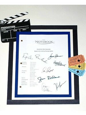 The Notebook Signed Script Reprint Ryan Gosling Rachel Mcadams Gena Rowlands