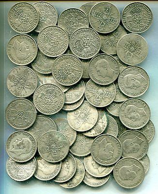 FLORINS x 50: £5 pre 1947, equivalent to 8.91 troy oz pure silver - some better
