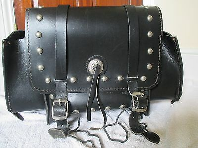 Large black Leather luggage bag with stud detail