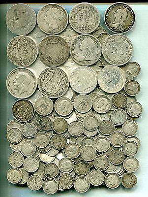 £5 pre 1920 Halfcrowns to Threepences equivalent 15.97 tr oz pure silver - mixed