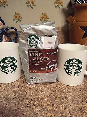 Starbucks Pike Place Roast 12 Oz Whole Beans And 2 Starbucks Mugs