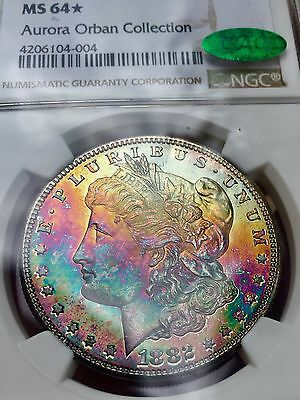 1882 S~Morgan Silver Dollar~NGC STAR~MS64~Aurora Orban Collection~MONSTER TONED