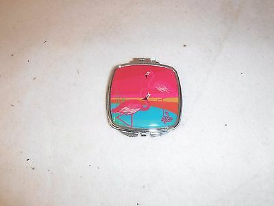 Mirror compact with flamingo motif, 'Kitsch'