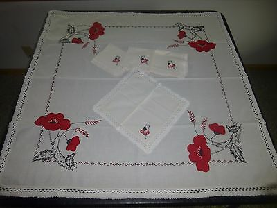 Vintage Small Embroidered Tablecloth 4 Napkins Set Red Black Flowers Crochet Edg