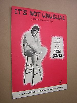 It's Not Unusual. Tom Jones. 1965 Original Vintage Sheet Music Score