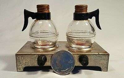 Vintage Glass Coffee Pots On Metal Hot Plate Salt And Pepper Shakers
