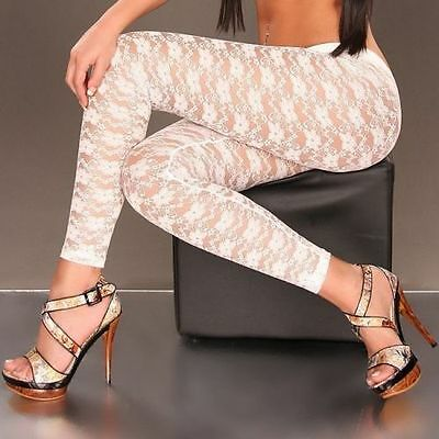 Collant leggings à dentelle blanc taille 44 - 46/L