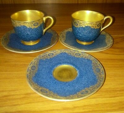 2 antique royal worcester demitasse cups and3 saucers