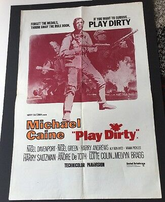 "1969 Original Uk Film Poster ""play Dirty"" Michael Caine,nigel Davenport.war Film"