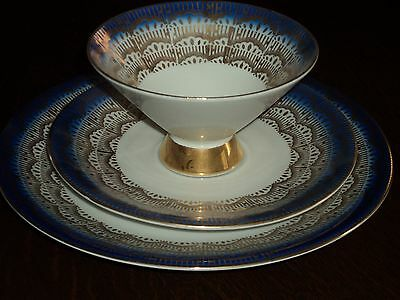 Art Deco Cobalt & Gold Winterling Bavaria Germany Tea Cup, Saucer and Plate Trio