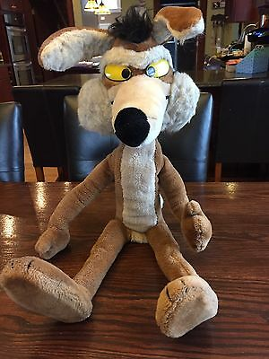 """Wile E Coyote 1991 Mighty Star Warner Bros Plush 30"""" Poseable Looney Tunes"""