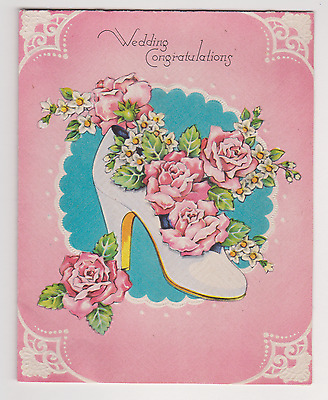 1940s Vintage Wedding Shoe & Flowers WEDDING GIFT CARD