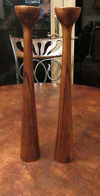 Mid Century Candlesticks Teak Wood Danish HF Denmark Candle Holder Vintage H+F