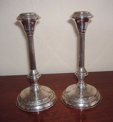 Pair Beautiful Weighted 925 Sterling Silver Candlesticks -  Good Condition -
