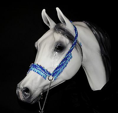 Hand Braided Arabian Style Show Halter, Horse Tack,  ELECTRIC BLUE / TURQ---NEW!