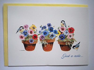 """""""POTTED PANSIES"""" THINKING OF YOU GREETING CARD & ENVELOPE ~ Valerie Pfeiffer"""