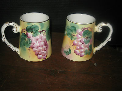 Two Grape Design Limoges, China  Gold Leaf Signed Stein -  Mugs