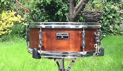 """Vintage Olympic 14"""" X 5.5"""" Snare Drum, De-wrapped, Hand Finished Natural Wood"""
