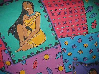 Vintage Disney Pocahontas Miko Green Purple TWIN Fitted Bed Sheet Fabric