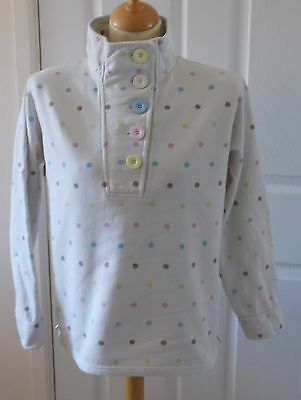Dixie ~ Long Sleeved White Spotted Fleece Top ~ Funnel Collar ~ Large Buttons 14