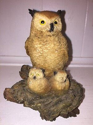 Vintage Collectible OWL & BABY Brown Barn CASTAGNA STATUE/FIGURE Made in Italy