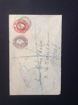 GB 1906 Registered Envelope to Paris With 1d & 6d Embossed Stamps.