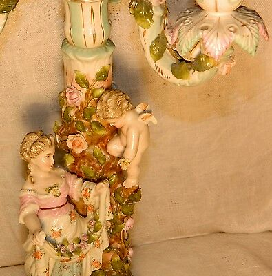 Antique German Art Nouveau Candelabra Sitzendorf Woman & Cherub