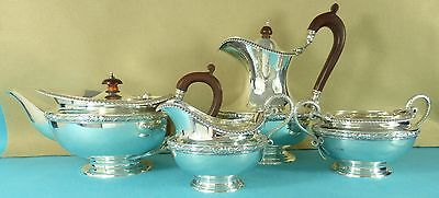 Magnificent Sterling Silver Tea Coffee Set Gadrooned Snake Handles London 1918