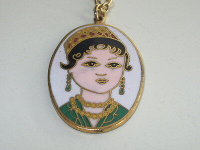 Vintage Cloisonne Russian Lady Pendant With Sterling Silver 925 Gilt Necklace, 2