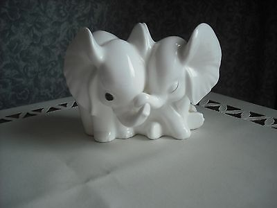 Royal Osborne - Pair Of Baby Elephants  - All White Bone China- Lovely Model