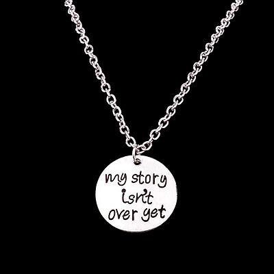 My Strong Isn't Over Yet Chain Pendant Necklace Jewelry Silver Charm Women Men