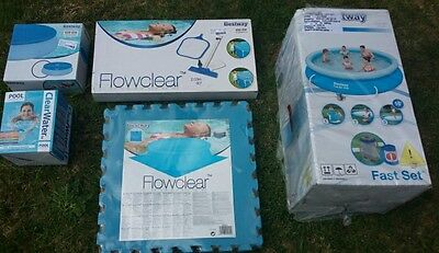 Bestway 12ft Fast Set Swimming Pool Includes Cover, Starter Kit, Floor Mats &