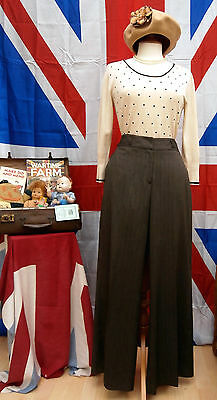 1940`s WW11 wartime vintage land girl style wide leg   trousers Next size 12R
