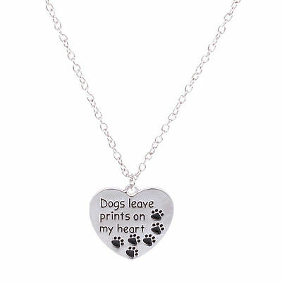 Silver Dogs Leave Prints On My Heart Paws Charm Chain Pendant Necklace Jewelry