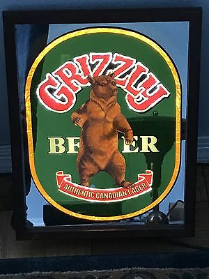 Vintage Grizzly Beer Canadian Lager Lighted Bar Mirror Man Cave Pub Rare